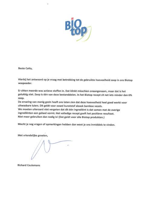 Hoeveelheidzeep in Biotop waspoeder - De Luierhoek, wasbare luiers (1)