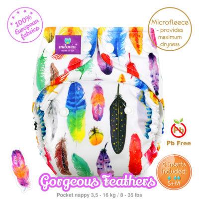 Milovia Pocket luier Gorgeous Feathers - De Luierhoek, wasbare luiers