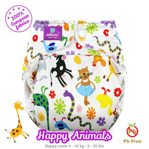 milovia nappy cover one size Happy Animals - De Luierhoek, wasbare luiers