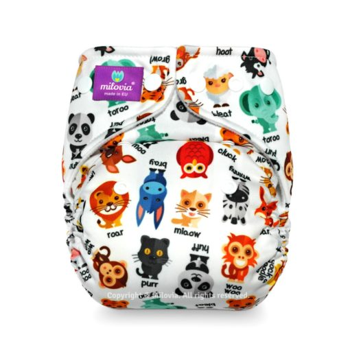 Milovia One Size Pocket Luier Noisy Animals - De Luierhoek, wasbare luiers