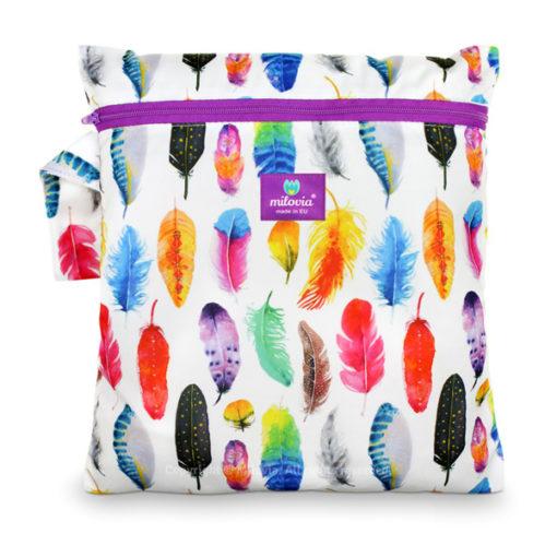 milovia wet bag Gorgeous Feathers - De Luierhoek, wasbare luiers
