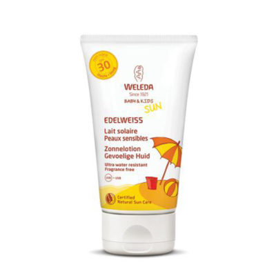 Edelweis Zonnelotion voor gevoelige huid Weleda - De Luierhoek, natuurlijke verzorging