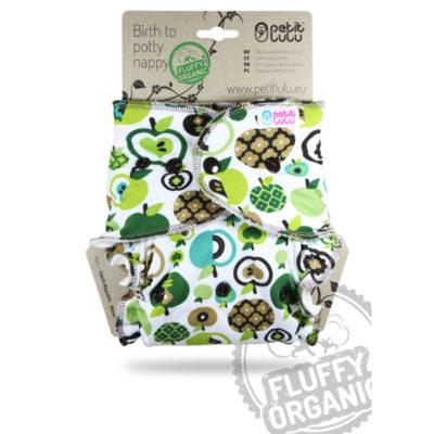 Petit Lulu Fluffy Organic Apples Drukknopen - De Luierhoek, wasbare luiers