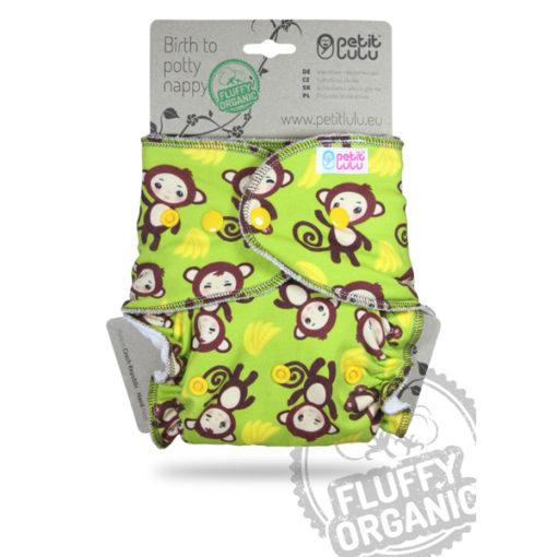 Petit Lulu Fluffy Organic Monkey Business Drukknopen - De Luierhoek, wasbare luiers