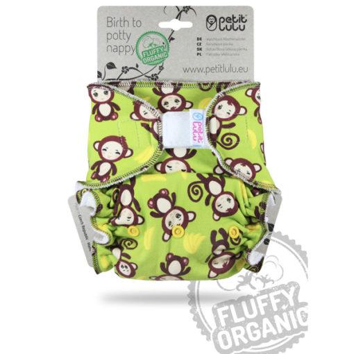 Petit Lulu Fluffy Organic Monkey Business Velcro - De Luierhoek, wasbare luiers kopie 2kopie