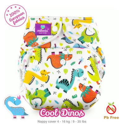 Milovia one size cover Cool Dinos - De Luierhoek, wasbare luiers