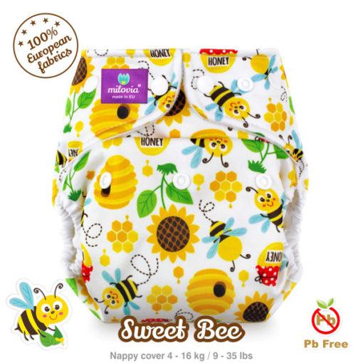 Milovia one size cover Sweet Bee - De Luierhoek, wasbare luiers