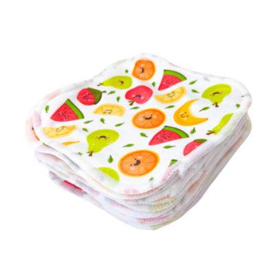 Cheeky Wipes Bamboe Plush doekjes Fruit Smiles - De Luierhoek, wasbare billendoekjes