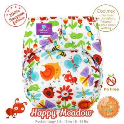 Milovia Pocket luier Happy Meadow - De Luierhoek, wasbare luiers