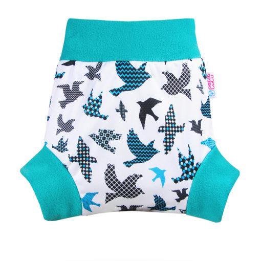 Petit Lulu Pull Up overbroekje - Turquoise Birds - De Luierhoek, wasbare luiers