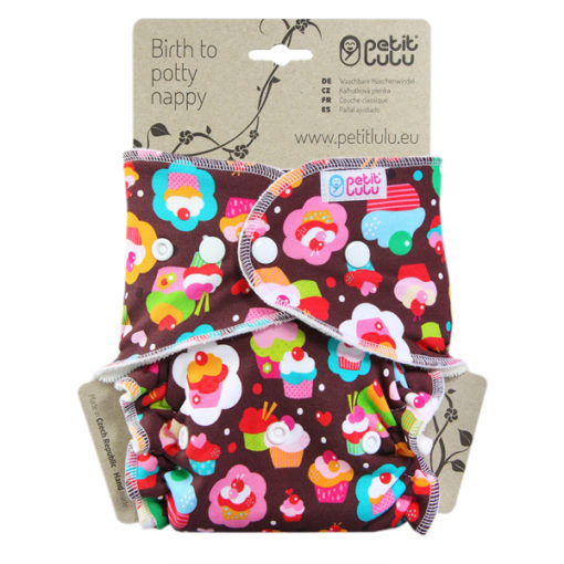 Petit Lulu Bamboe Cupcakes Drukknopen - De Luierhoek, wasbare luiers