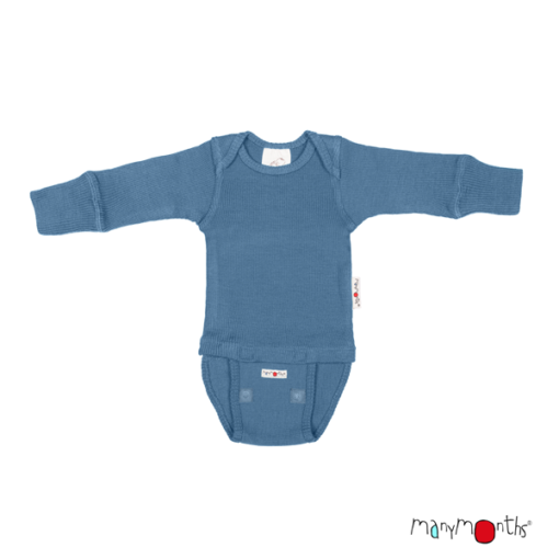 De Luierhoek, ManyMonths Natural Woollies Body-Shirt Long Sleeve, Cosmos Blue