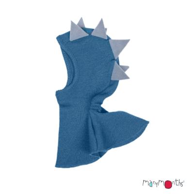 De Luierhoek, ManyMonths Natural Woollies Dino Hood UNiQUE, Cosmos Blue