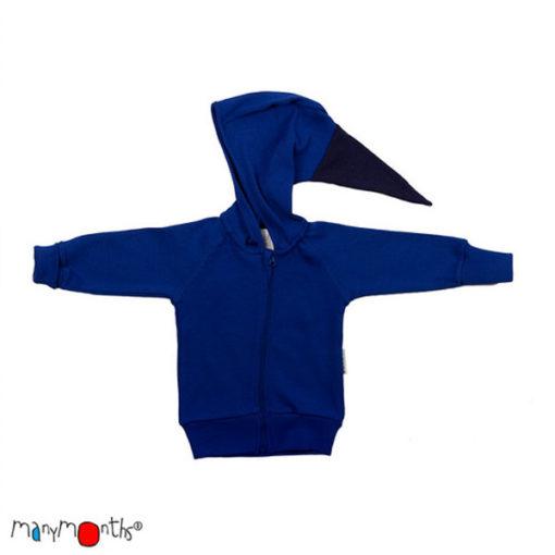 De Luierhoek, ManyMonths Natural Woollies Hooded Zip Cardigan, Jewel Blue