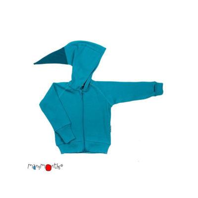 De Luierhoek, ManyMonths Natural Woollies Hooded Zip Cardigan, Royal Turquoise