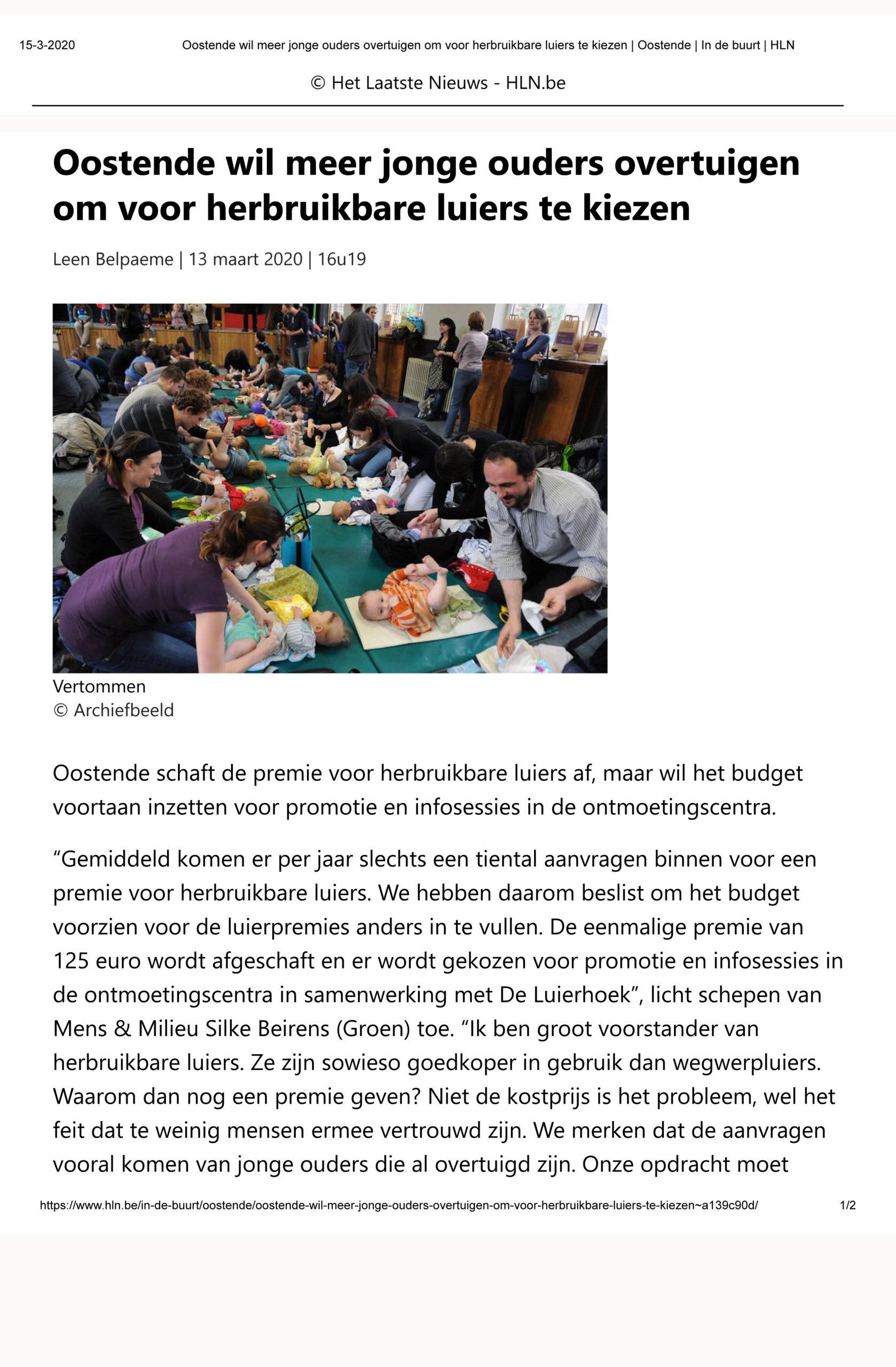 Oostende wil meer jonge ouders overtuigen om voor herbruikbare luiers te kiezen _ Oostende _ In de buurt _ HLN-1 15-03-2020