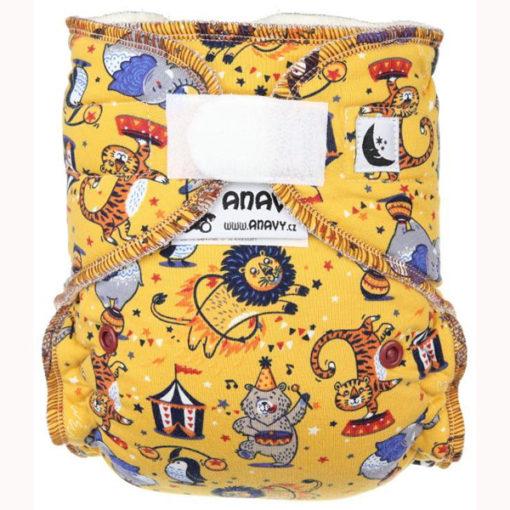 Anavy XL nachtluier Circus (yellow) - De Luierhoek, wasbare luiers