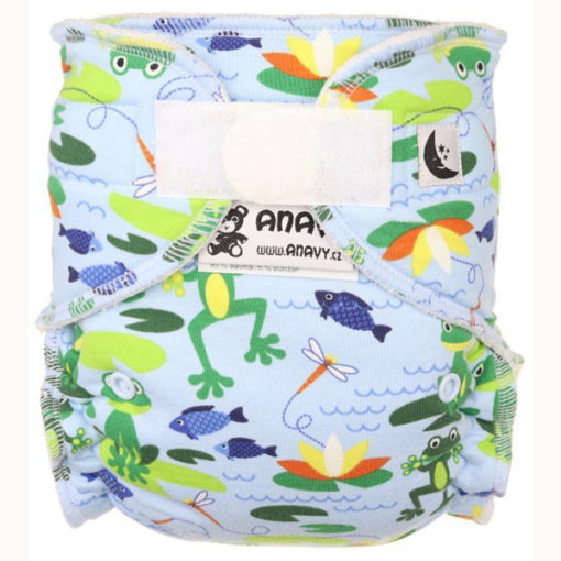 Anavy XL nachtluier Frogs (light blue) - De Luierhoek, wasbare luiers