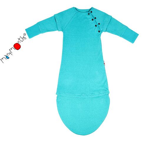 De Luierhoek, ManyMonths ECO hempies LongShort Sleeve Sleeping Pouch, Turquoise