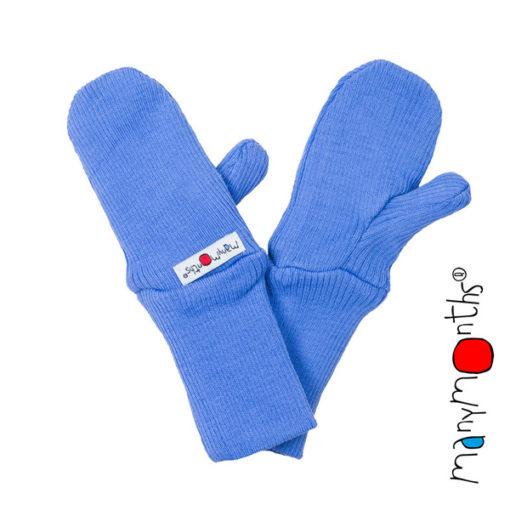 De Luierhoek, ManyMonths Natural Woollies Baby Cuff Mittens, Provence Blue