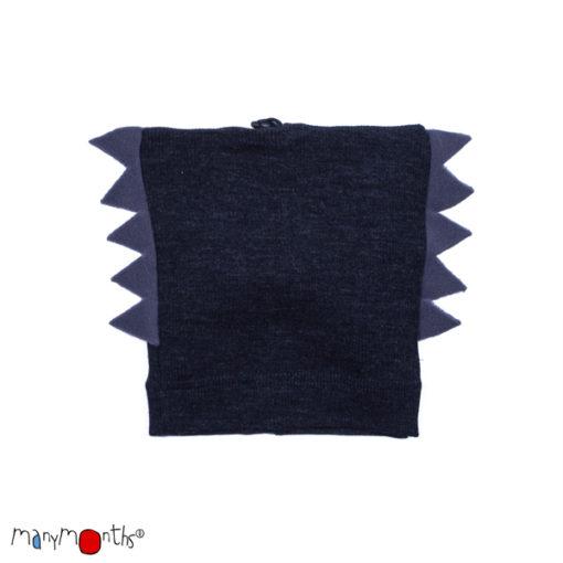 De Luierhoek, ManyMonths Natural Woollies Dino Beanie UNiQUE, Foggy Black