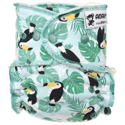 Ananvy Bamboe drukknopen Toucan (Mint) - De Luierhoek, wasbare luiers