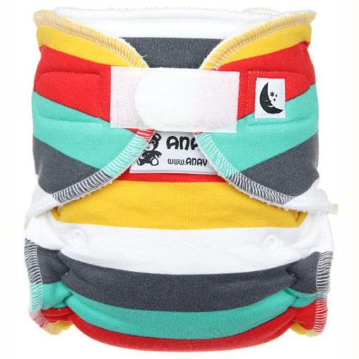 Anavy Nachtluier Velcro Stripes Cool - De Luierhoek, wasbare luiers