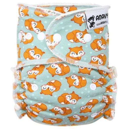 Ananvy Bamboe drukknopen Sleeping Foxes - De Luierhoek, wasbare luiers