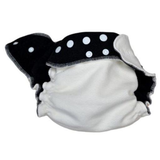 Lulu Dodo Hennep nachtluier zwarte binnenzijde verkleind - De Luierhoek, wasbare luiers
