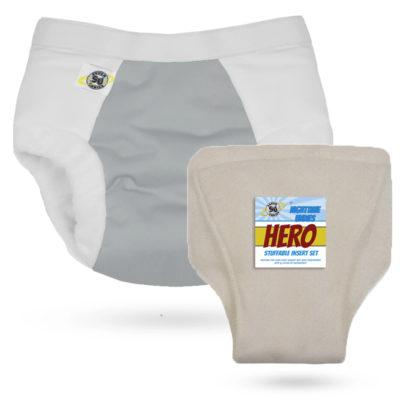 Super Undies Hero Undies Dove met hennep inlegger- De Luierhoek, wasbare luiers