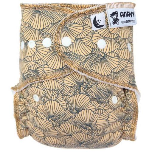 Anavy Nachtluier Bamboe Ruffles (ocher) - De Luierhoek, wasbare luiers