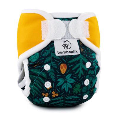 Bamboolik MiniMimi Inversion overbroekje Emerald fores + saffron - De Luierhoek, wasbare luiers