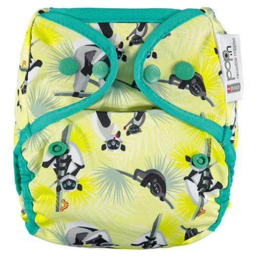 Close Pop-In overbroekje gerecycleerde PUL drukknopen Lemur - De Luierhoek, wasbare luiers